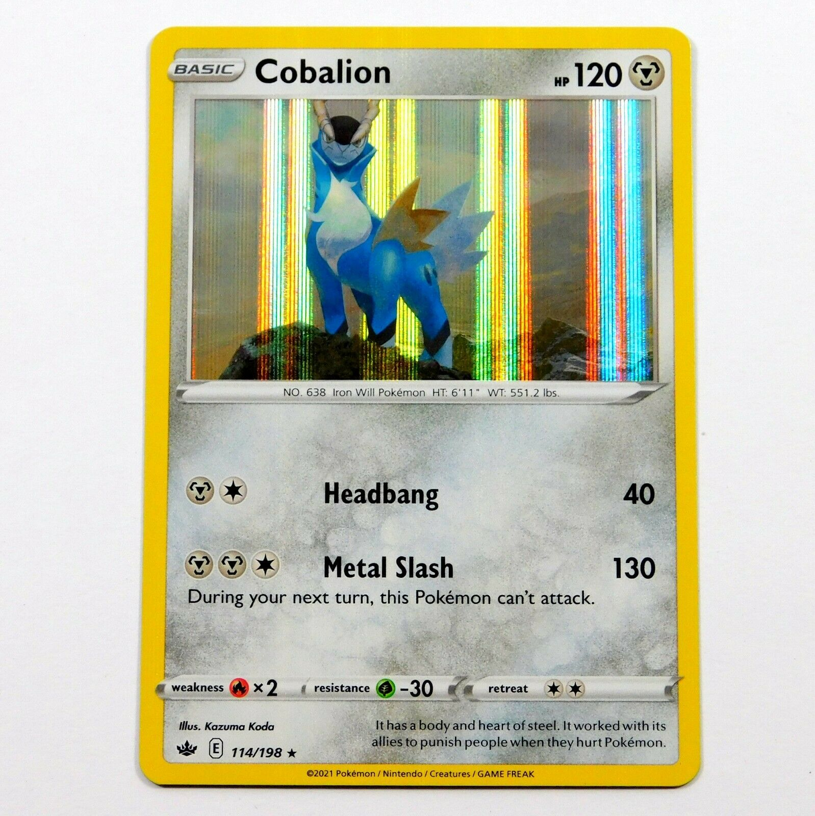 Cobalion 114/198 Holo Rare Chilling Reign Pokemon Card NM/M