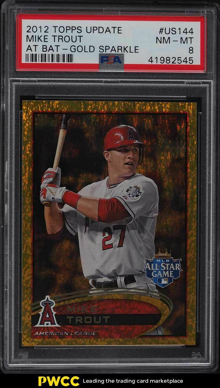 2012 Topps Update Gold Sparkle Mike Trout ROOKIE RC #US144 PSA 8 NM-MT - Image 1
