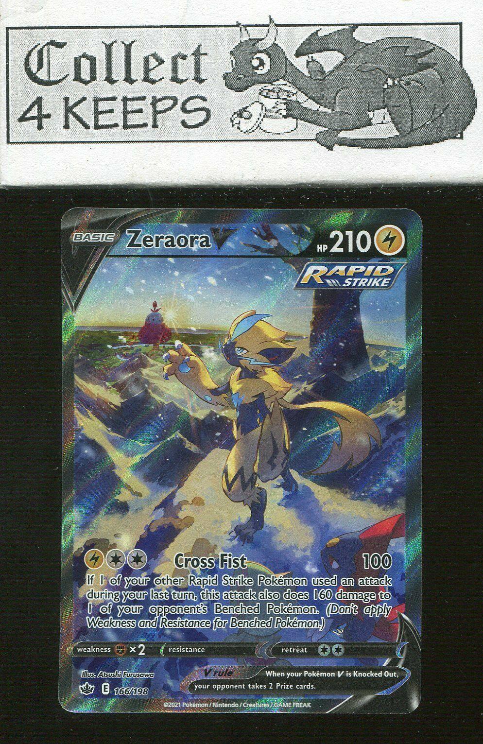 Zeraora V Rapid Strike Ultra Rare 166/198 Chilling Reign Near Mint Pokemon TCG