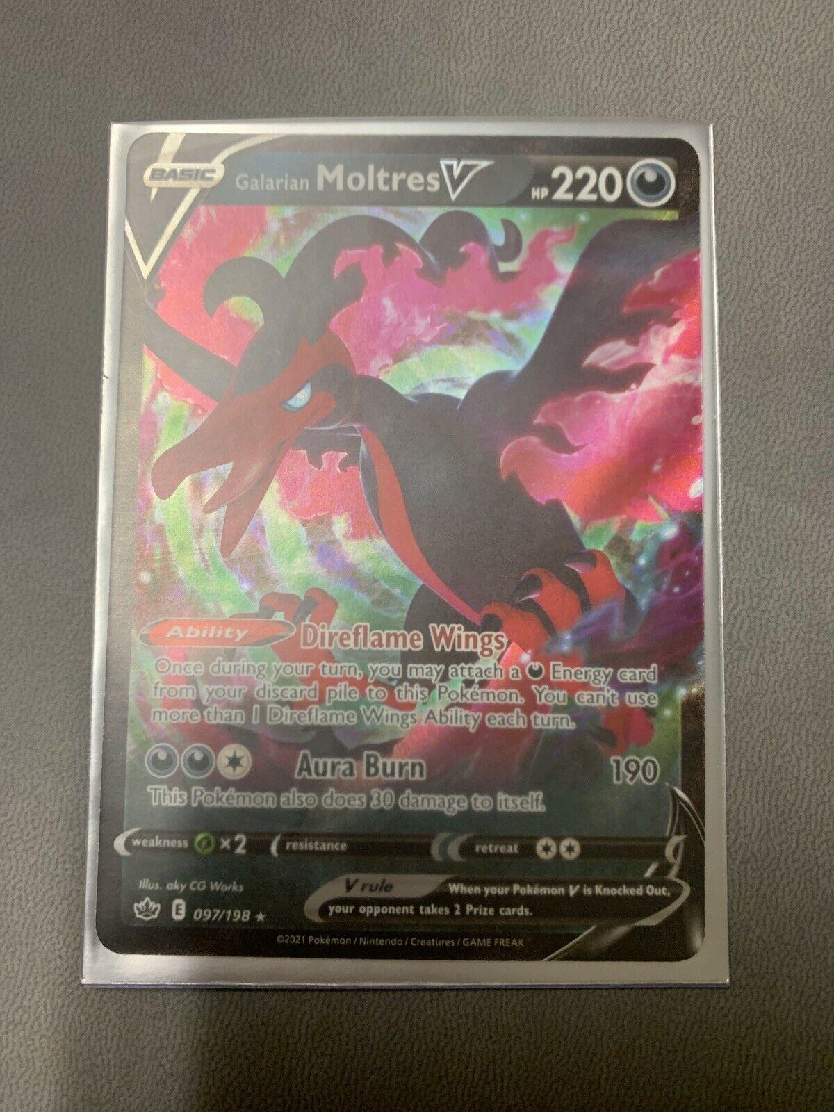 Galarian Moltres V 097/198 Holo Ultra Rare Chilling Reign Pokemon TCG FULL ART