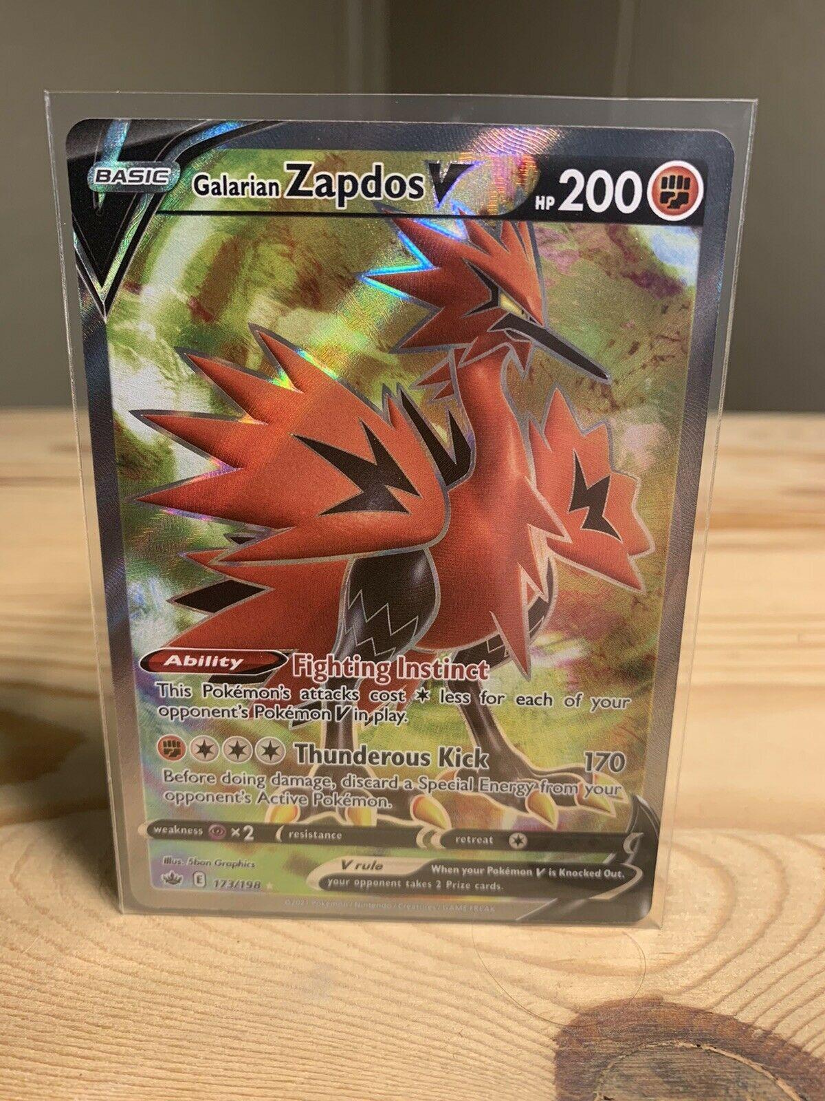 Pokemon Chilling Reign GALARIAN ZAPDOS V FULL ART Ultra Rare 173/198 NM+