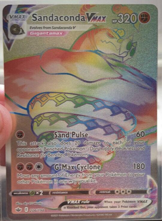 Pokémon Sandaconda VMAX Rainbow Holo Chilling Reign Secret Rare 206/198