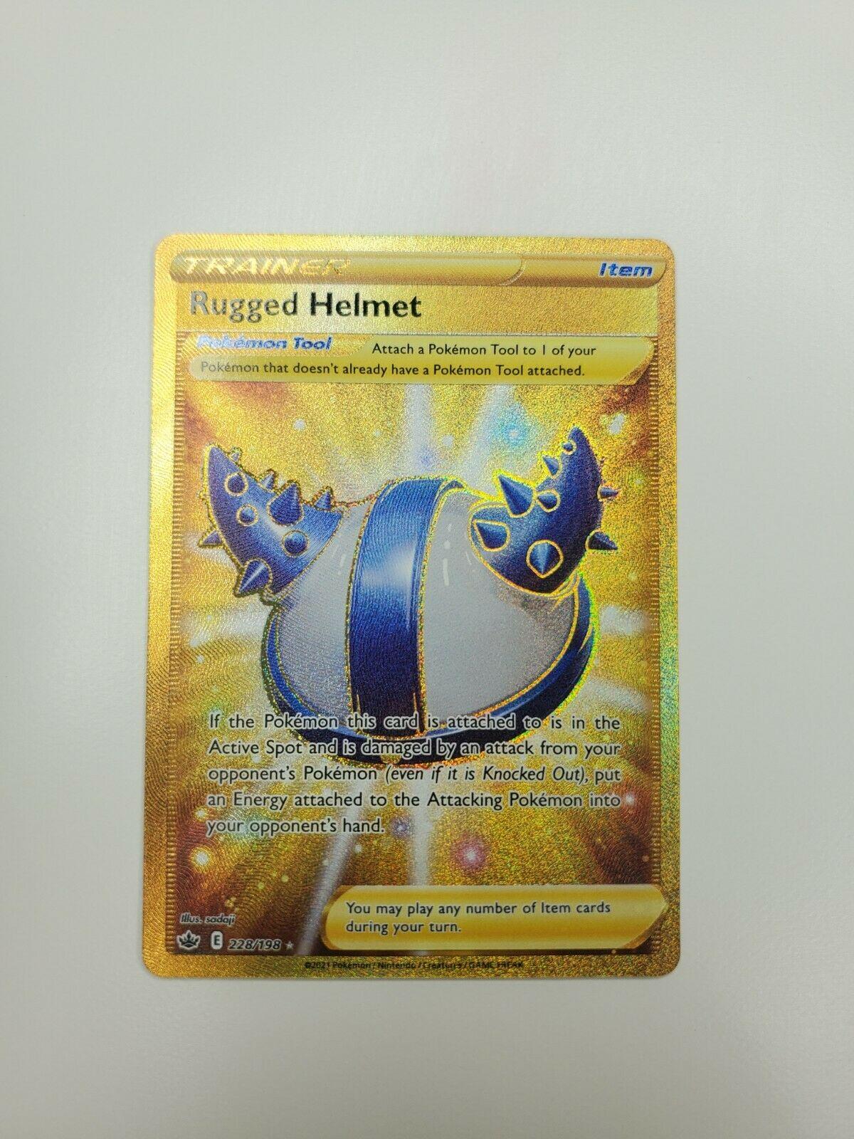 Pokemon TCG Rugged Helmet Gold Secret Rare 228/198 Chilling Reign