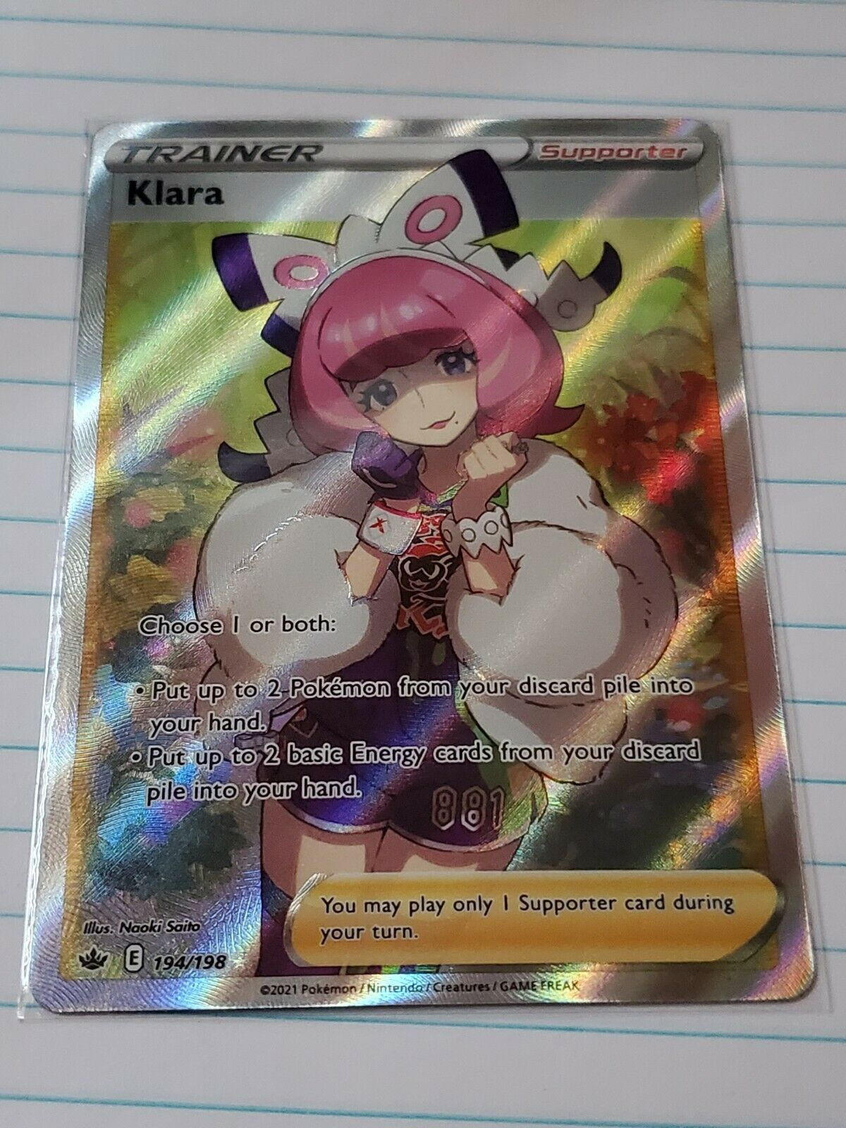Pokemon TCG Klara 194/198 Full Art Trainer Pokemon Chilling Reign NM/Mint
