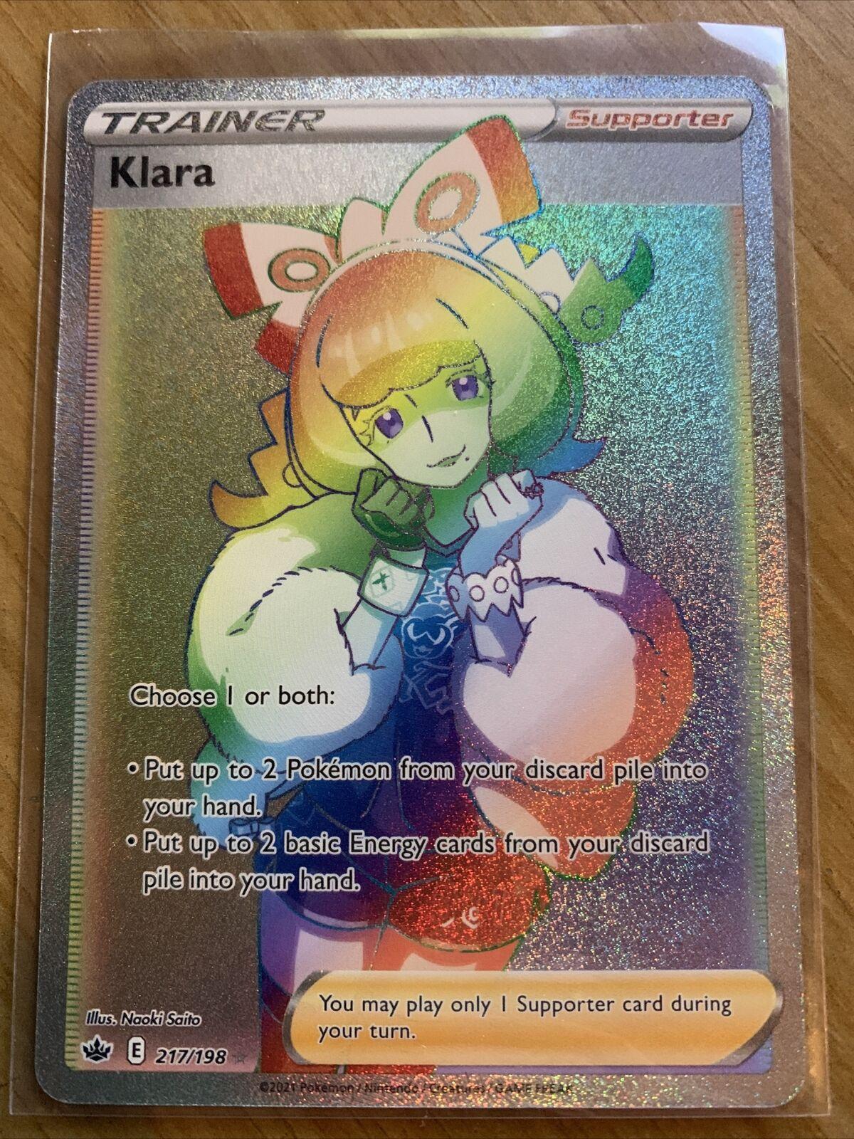 Pokémon Full Art Trainer Secret Rare Klara (217/198) Chilling Reign