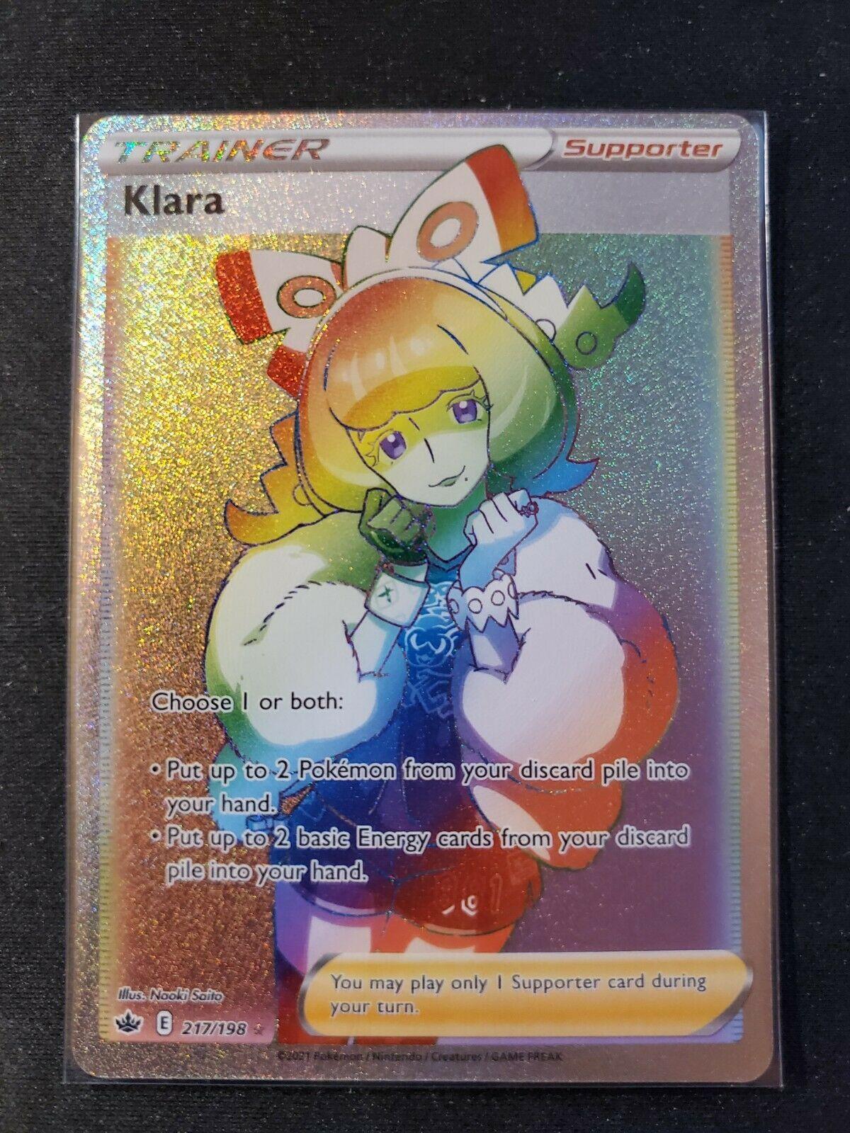 Pokemon Chilling Reign Rainbow Secret Rare Klara 217/198