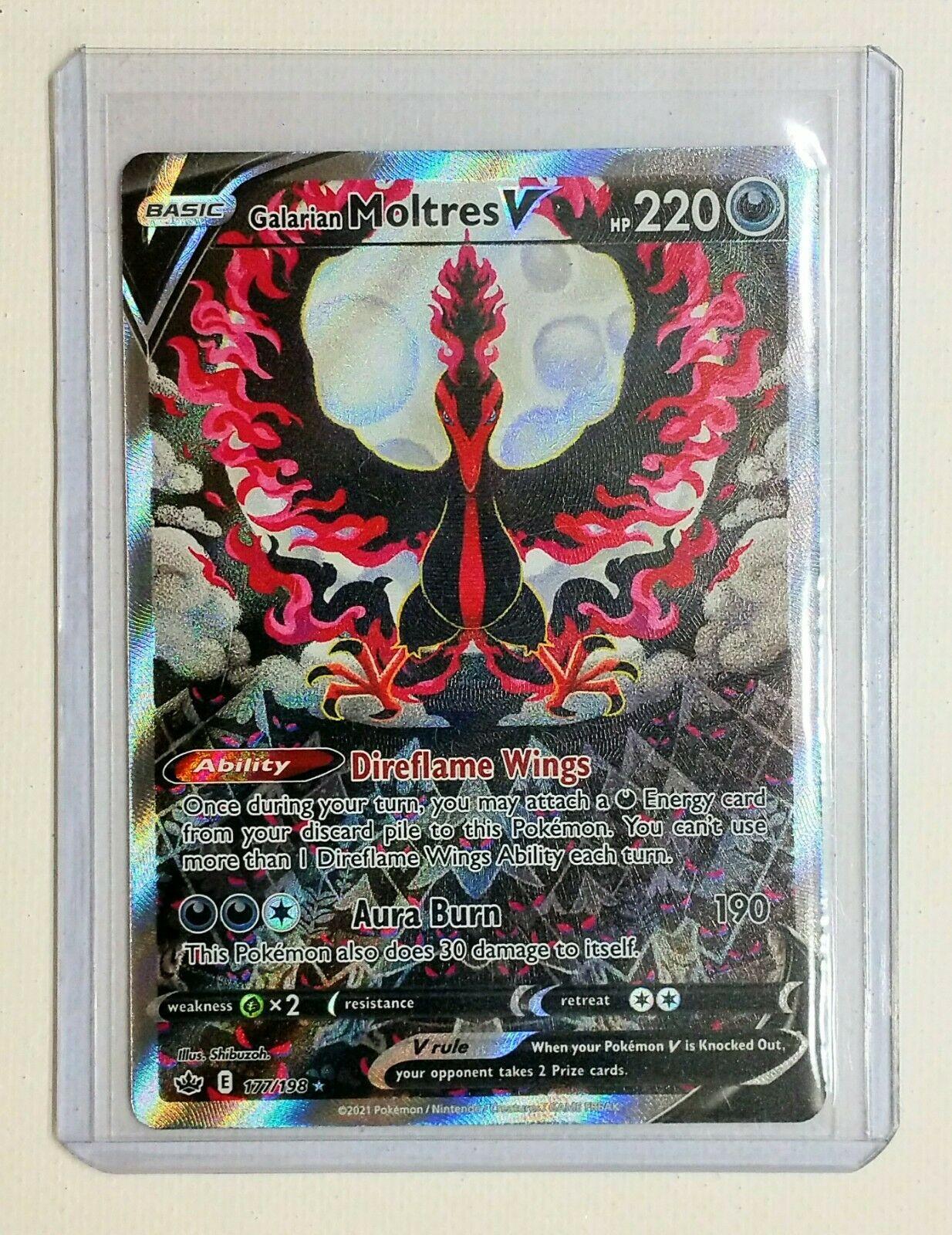 (Mint) Pokémon Chilling Reign GALARIAN MOLTRES V Full Art 177/198 ALTERNATE ART