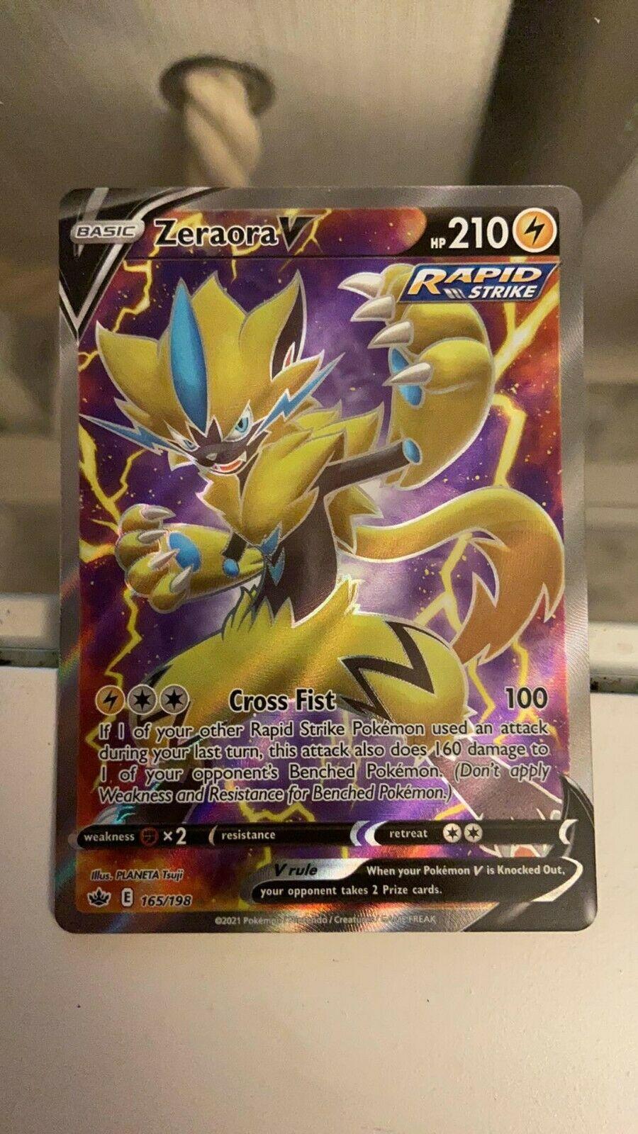 Zeraora V 165/198 NM Full Art Ultra Rare Holo Chilling Reign Pokemon Card