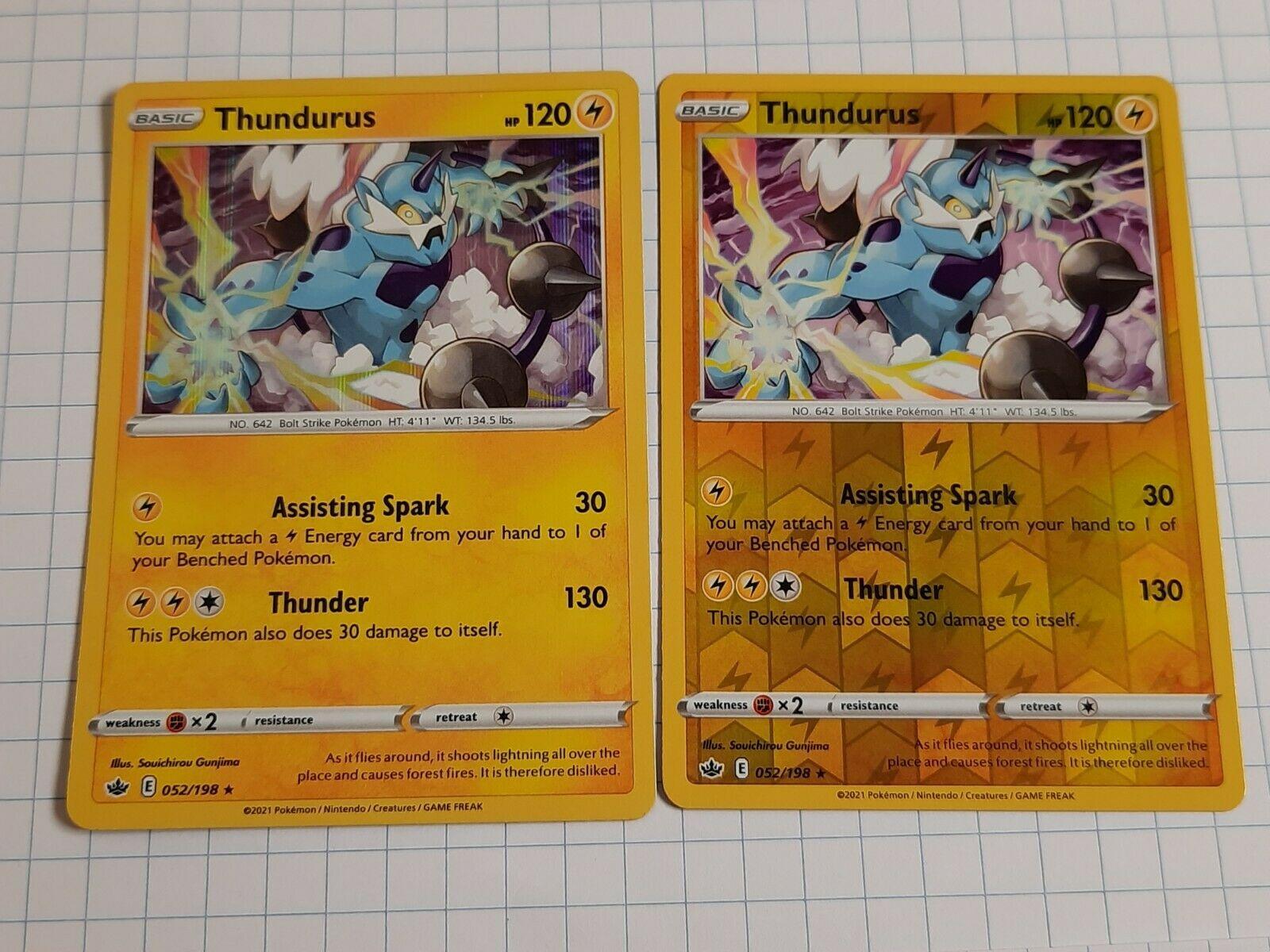 Thundurus 052/198 Chilling Reign Holo & Reverse Holo Rare Pokemon Card NM