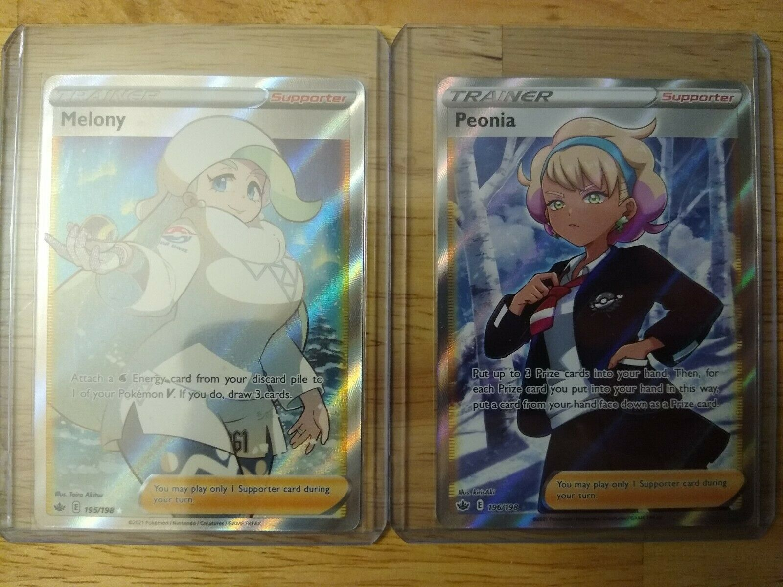 Peonia 196/198 and Melony 195/198 - Ultra Rare - Pokemon Chilling Reign - Mint