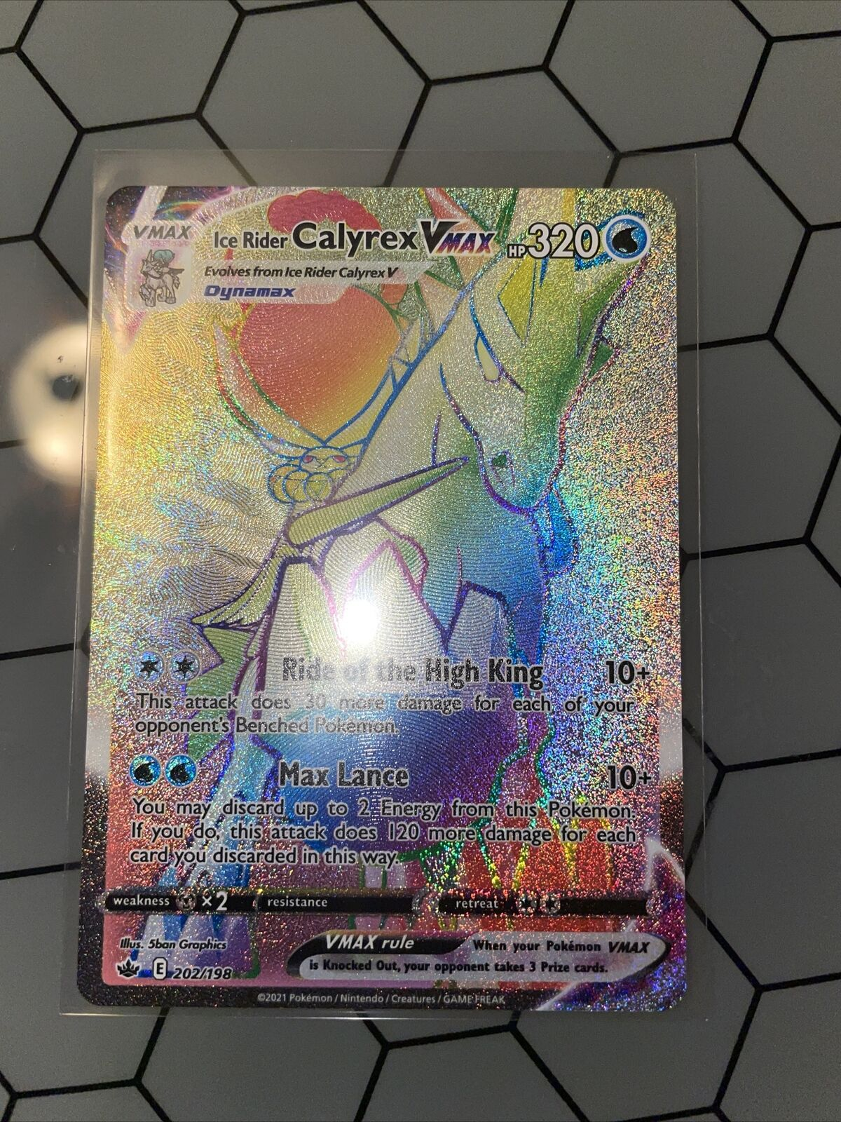 Ice Rider Calyrex VMAX 202/198 Secret Rare Rainbow Chilling Reign