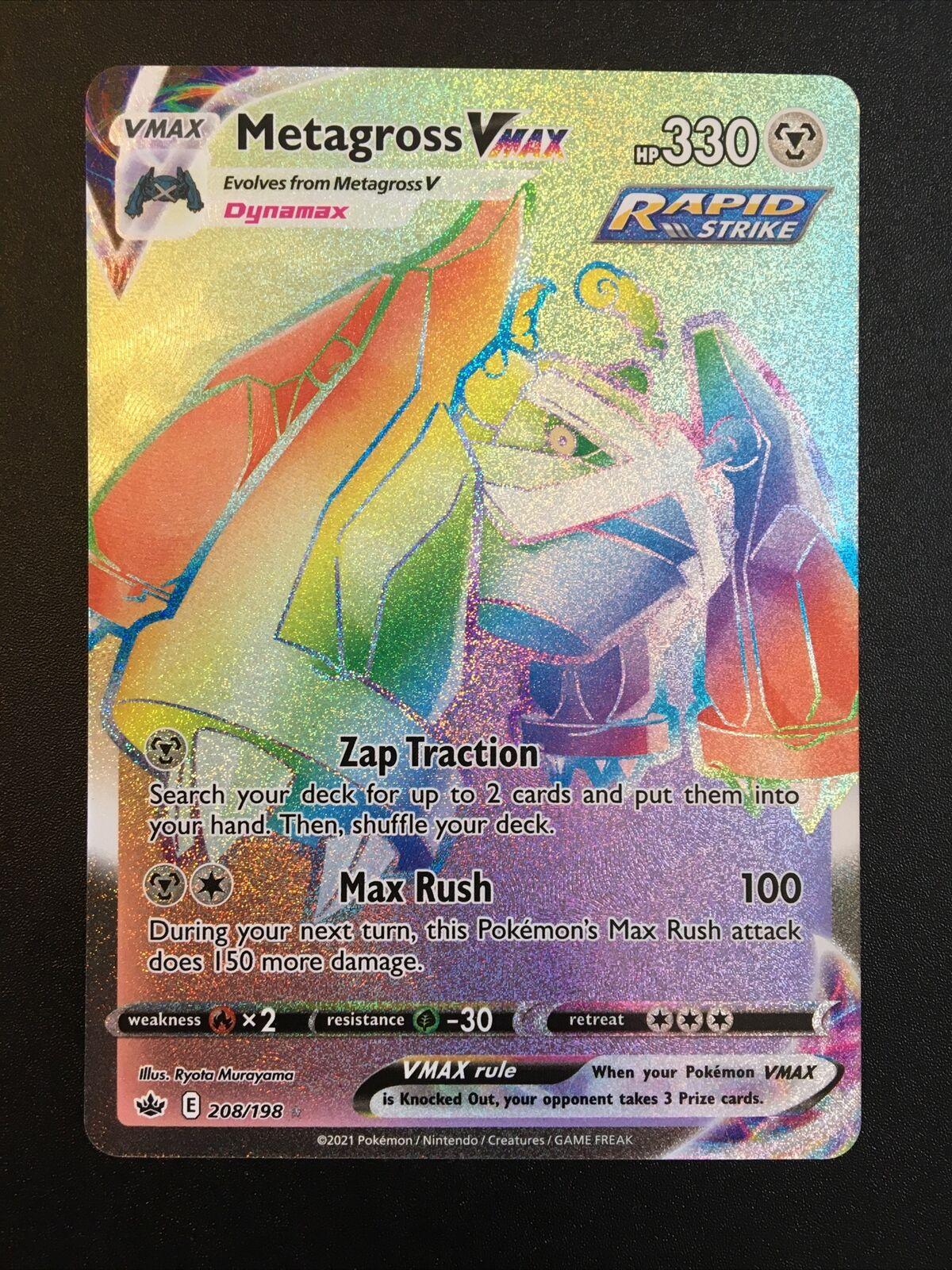 Pokemon Chilling Reign Metagross VMAX Rainbow Rare 208/198 NM/M - Image 1