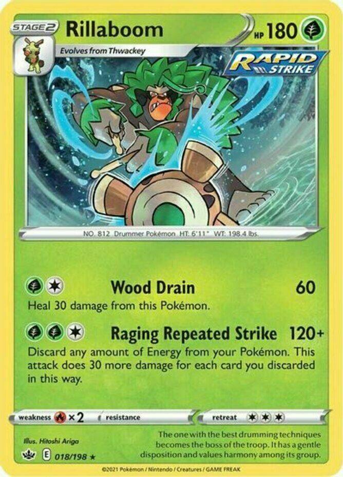 Pokemon - Rillaboom - 018/198 - Holo Rare - Chilling Reign - NM/M