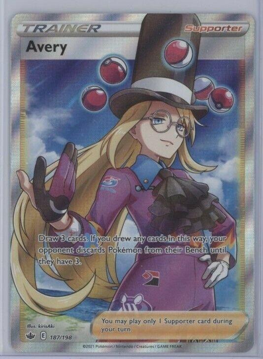 AVERY Pokemon Sword & Shield Chilling Reign FULL ART TRAINER 187/198