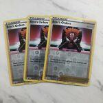 3x Pokemon Rare Reverse Holo Foil Boss's Orders Card 058/072 Shining Fates NM