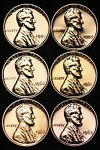 PROOF 1958 Wheat 1959 1960 1961 1962 1963 Lincoln Memorial Cent Penny 6 Coins
