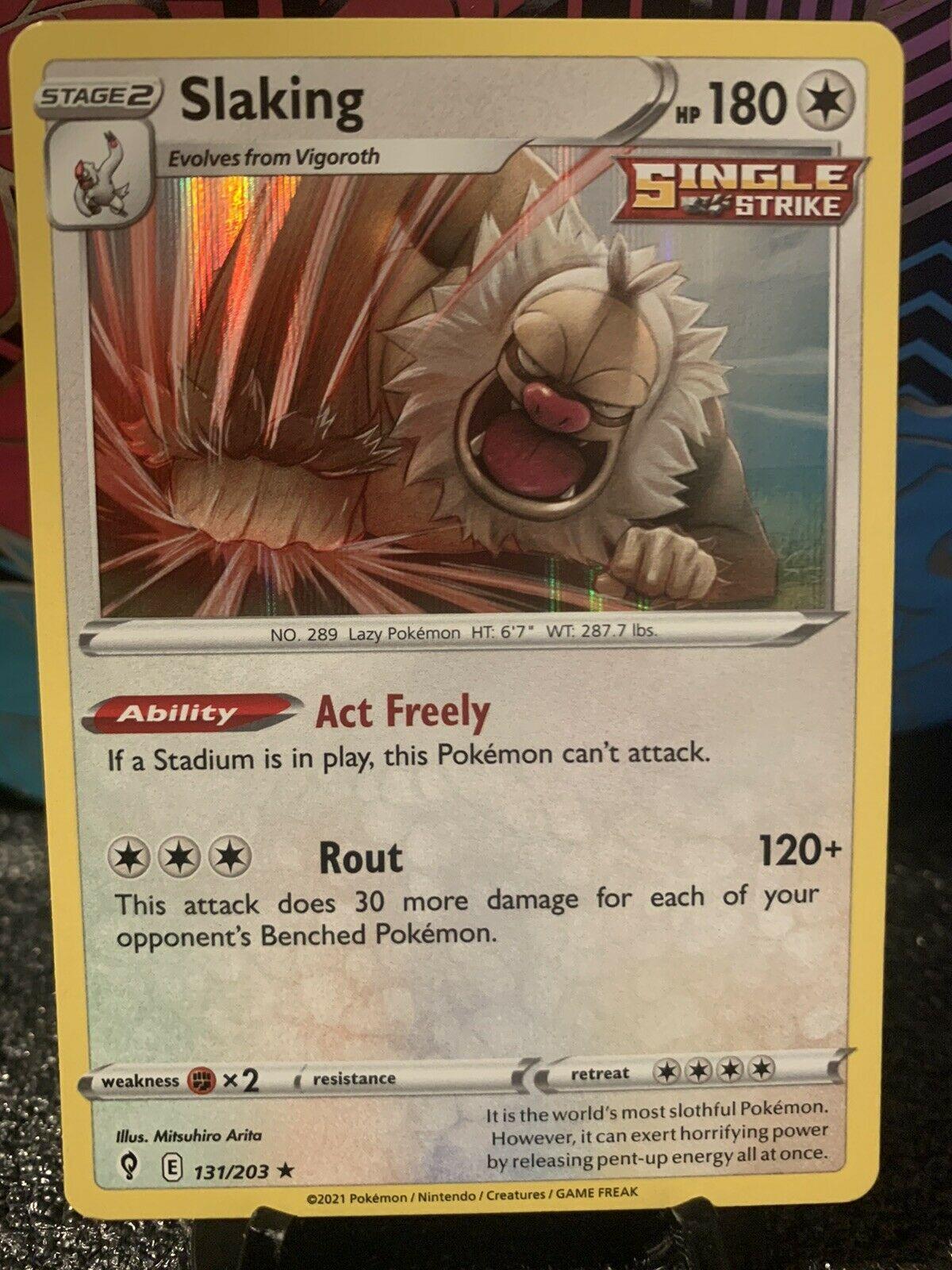 Pokemon Card - Slaking Single Strike Holo Rare Evolving Skies 131/203 - Mint/ NM