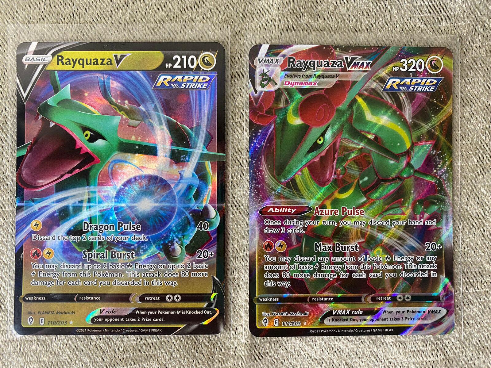 Pokemon Evolving Skies Rayquaza VMAX 111/203 and V 110/203 NM