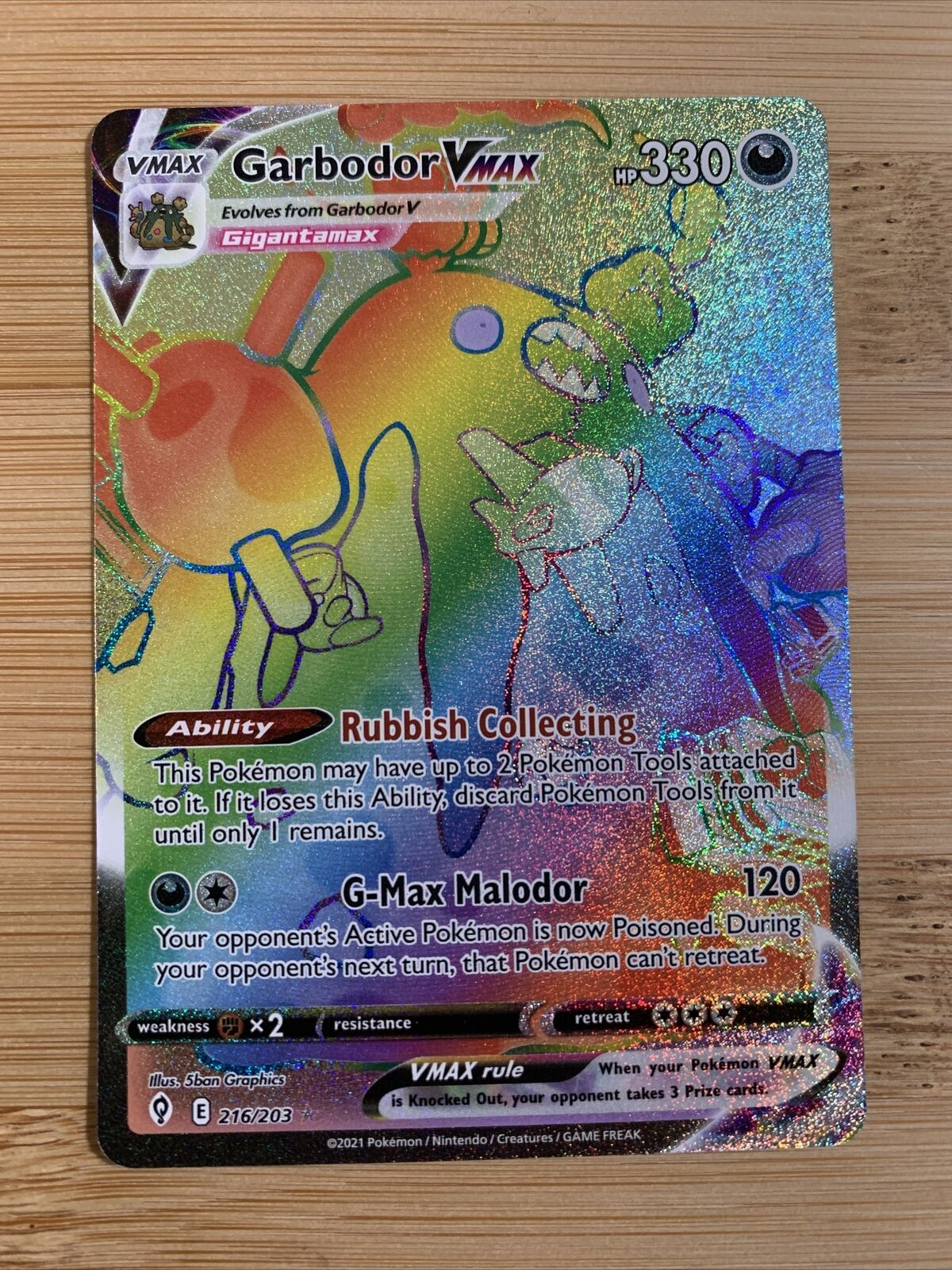 Garbodor VMAX Rainbow Secret Rare 216/203 Evolving Skies