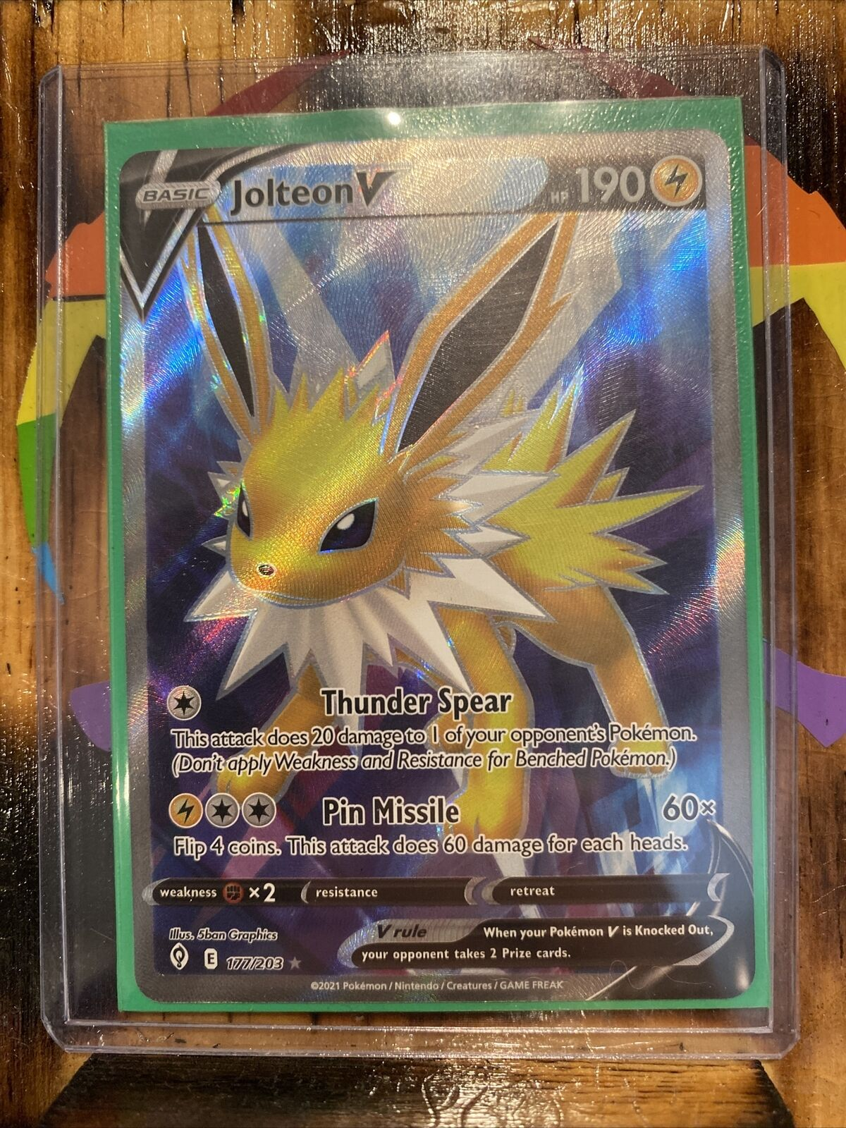 Jolteon V Full Art 177/203 Pokemon Evolving Skies ULTRA RARE HOLO - NM/M!