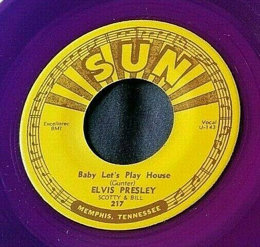 Elvis Presley: Baby Let's Play House/I'm Left... 45 Sun 217 RE purple vinyl