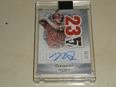 2019 Topps Luminaries Home Run Kings PATCH Auto Mike Trout 02/15 - Image 1