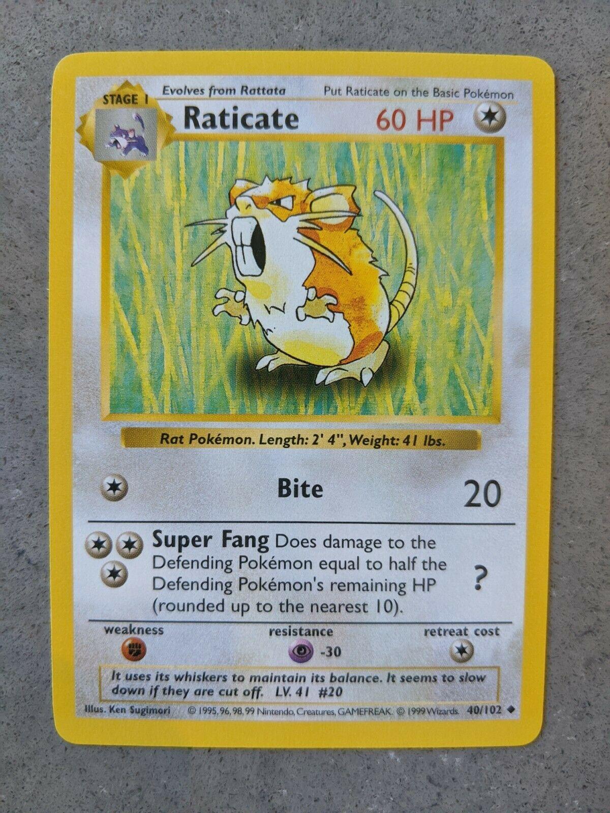 NM Raticate 40//102 Base Set Unlimited Pokemon Card WotC