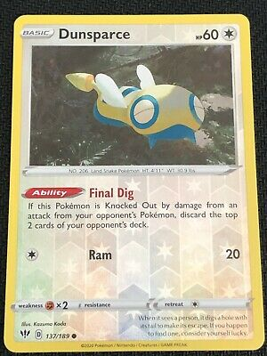 Dunsparce 137//189 Pokemon Darkness Ablaze Common Colorless New Fresh Pack