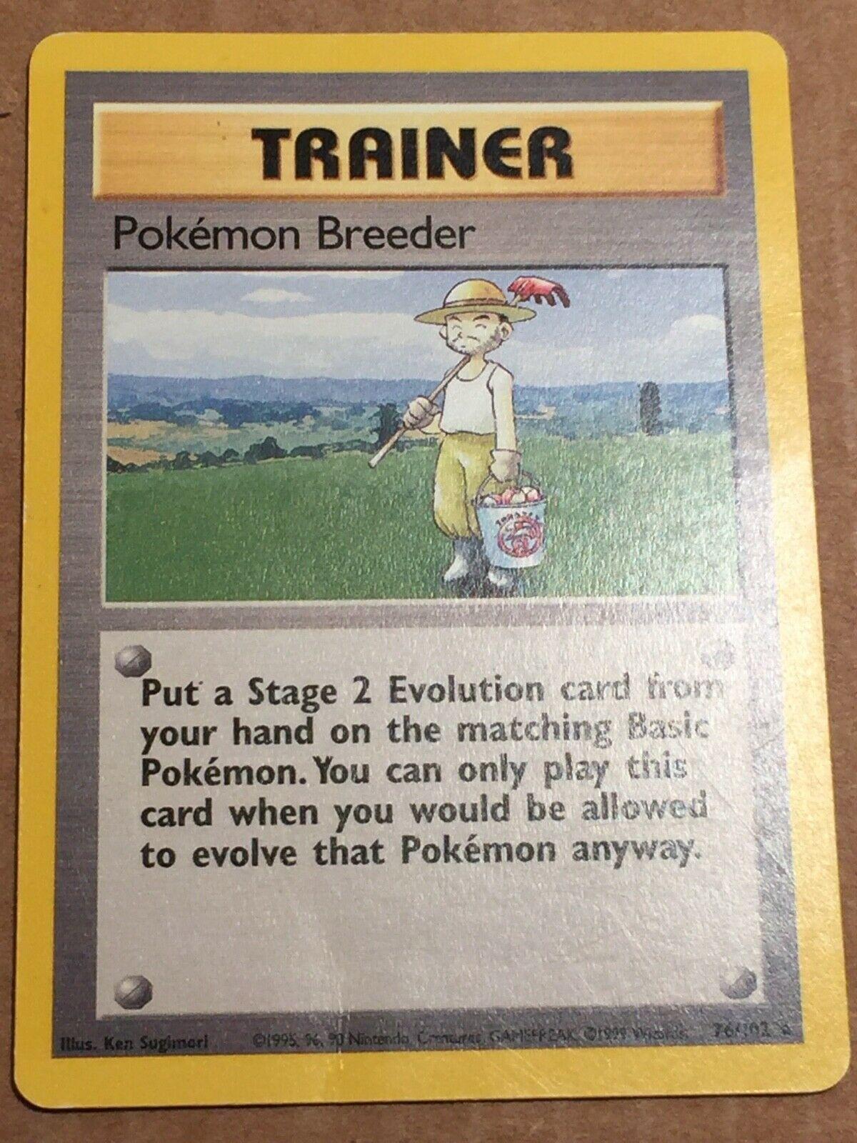 Pokemon Base Set 1 RARE Pokemon Breeder 76//102 NM//M Condition